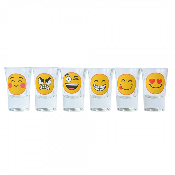 Set 6 Pahare Shot-uri Funny Emoji 35 ML 2