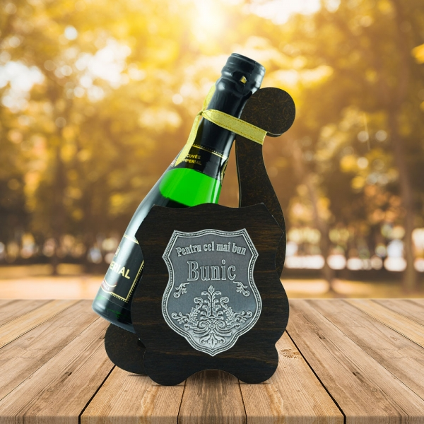 Sticla De Vin Spumant + Suport - Cel Mai Bun Bunic - 0.2L