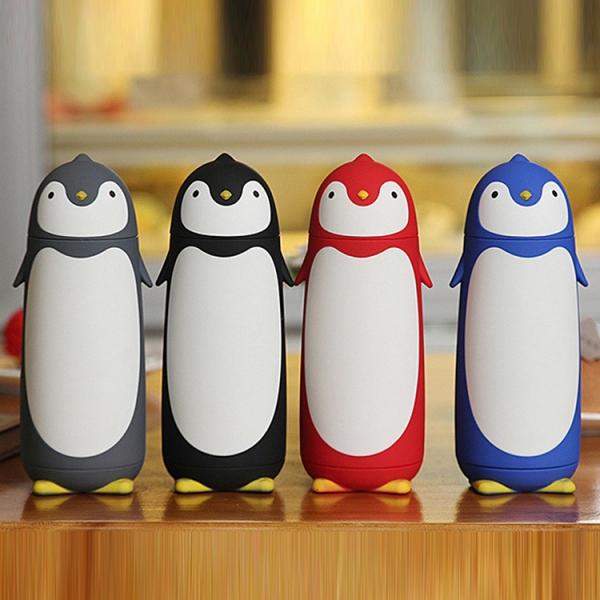 Termos Pinguin, Sticla cu Husa din Silicon, Capac cu Filet din Plastic 300 ml