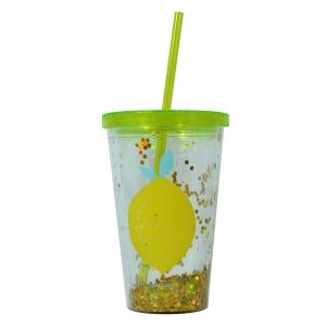 Pahar De Vara Cu Pai Confetti Lemon 450 ml1