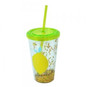 Pahar De Vara Cu Pai Confetti Lemon 450 ml2