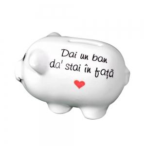 Pusculita Porcusor Alb - Dai Un Ban Da' Stai In Fata - 11x6x6 CM2