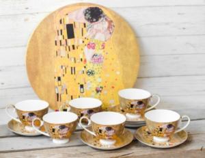 Set 6 cesti cafea + tava Klimt - Auriu