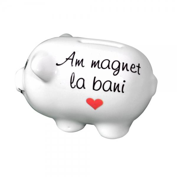 Pusculita Porcusor Alb - Am Magnet La Bani - 11x6x6 CM