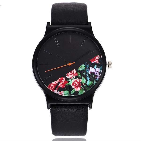 Ceas Floral Negru