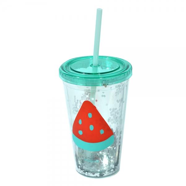 Pahar De Vara Cu Pai Confetti Watermelon 450 ml