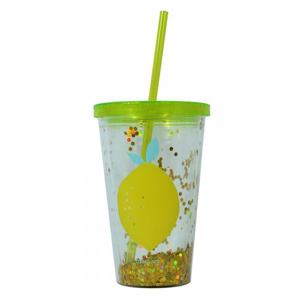 Pahar De Vara Cu Pai Confetti Lemon 450 ml