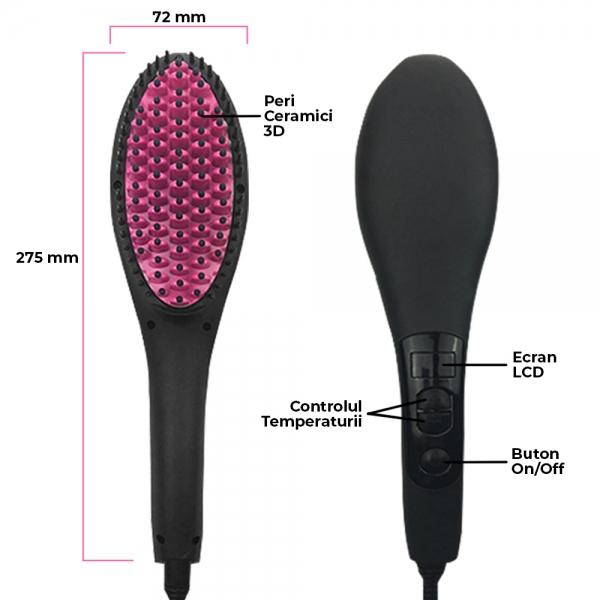 Perie Ceramica Electrica Pentru Indreptat Parul - Afisaj LCD Si Ionizare 3D