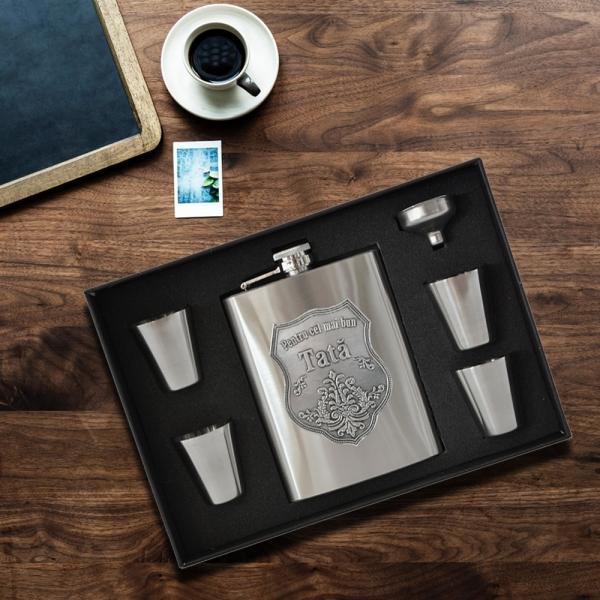 Set Plosca Alcool Pentru Cel Mai Bun Tata 230 ML