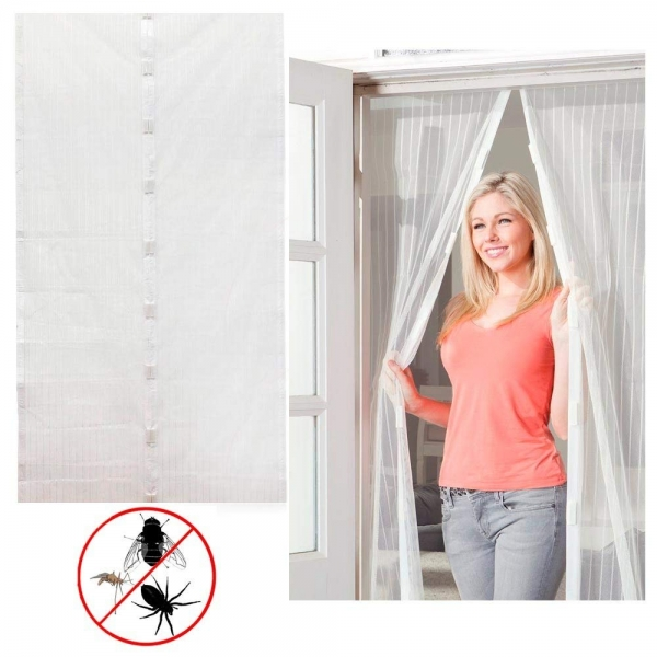 Perdea Alba Anti Insecte Pentru Usa - Cu Magnet