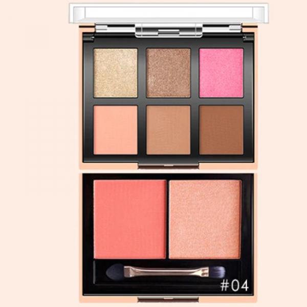 Set 2 Palete Profesionale 2in1 - 6 farduri ochi + 2 farduri obraz O.TWO.O Eyeshadow & Blush