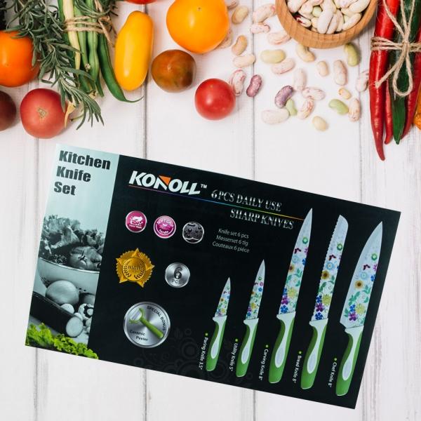 Set 5 Cutite + Dipozitiv Pentru Decojit Konoll - Otel Inoxidabil - Floral
