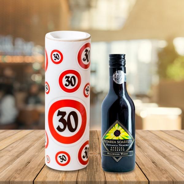 Set Sticla De Vin 187 ML + Cutie Cadou - 30 De Ani - 22 CM