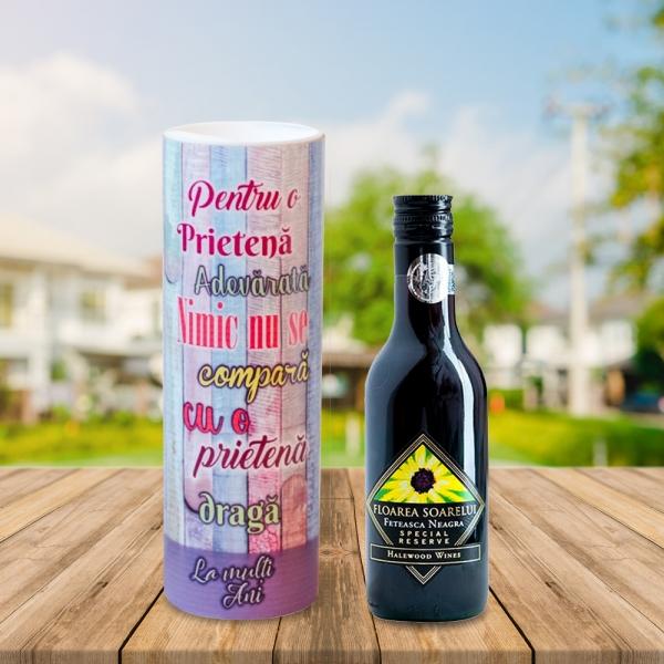Set Sticla De Vin 187 ML + Cutie Cadou - Pentru O Prietena Adevarata - 22 CM