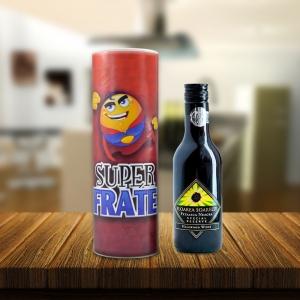 Set Sticla De Vin 187 ML + Cutie Cadou - Super Frate - 22 CM
