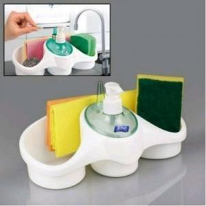Dispenser detergent lichid cu suport burete si suport inel-alb