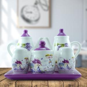 Set Oliviera Ceramica 5 Piese - Pentru Ulei, Otet, Sare, Piper Si Zahar + Tavita