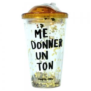 Pahar De Vara Cu Pai Confetti Me Donner Un Ton 450 ml