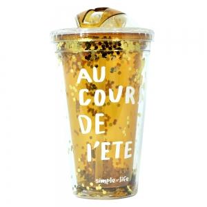 Pahar De Vara Cu Pai Confetti Au Cour De L'ete 450 ml