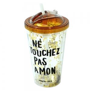 Pahar De Vara Cu Pai Confetti Ne Touchez Pas A Mon 450 ml