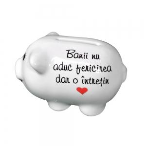 Pusculita Porcusor Alb - Banii Nu Aduc Fericirea - 11x6x6 CM