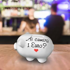 Pusculita Porcusor Alb - Ai Cumva 1 Euro? - 11x6x6 CM