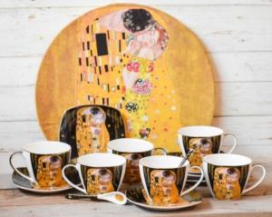 Set 6 cesti cafea + tava Klimt - Negru #2