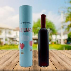 Set Sticla De Vin 500 ML + Cutie Cadou - Din Toata Inima - 33 CM
