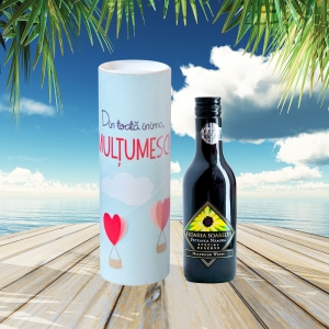 Set Sticla De Vin 187 ML + Cutie Cadou - Din Toata Inima, Multumesc- 22 CM