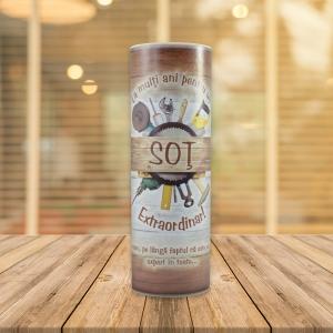 Set Sticla De Vin 187 ML + Cutie Cadou - Sot Extraordinar - 22 CM