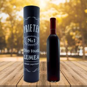 Set Sticla De Vin 500 ML + Cutie Cadou - Cel Mai Bun Prieten - 33 CM
