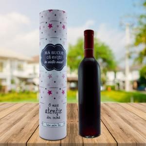 Set Sticla De Vin 500 ML + Cutie Cadou - Ma Bucur Ca Existi In Viata Mea - 33 CM