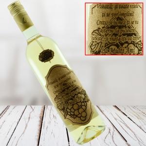Sticla de vin Alb - La multi ani! - 750 ml