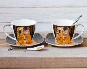 Set 2 cesti cafea Klimt - Negru