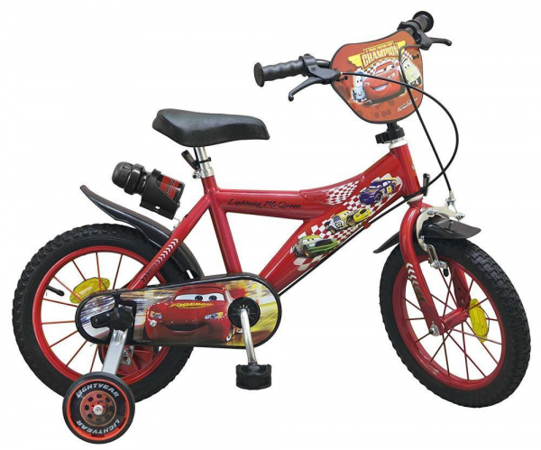 bicicleta roti ajutatoare copii baieti toimsa disney cars lighting mcqueen 14 inch 4 5 6 ani