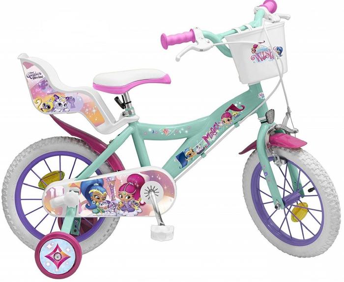 Bicicleta roti ajutatoare copii fete baieti Toimsa Disney shimmer shine 14 inch 4 5 6 ani