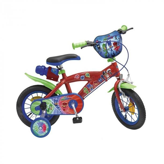 Bicicleta roti ajutatoare copii baieti Toimsa Disney Pj Masks 12 inch 3 4 5 ani