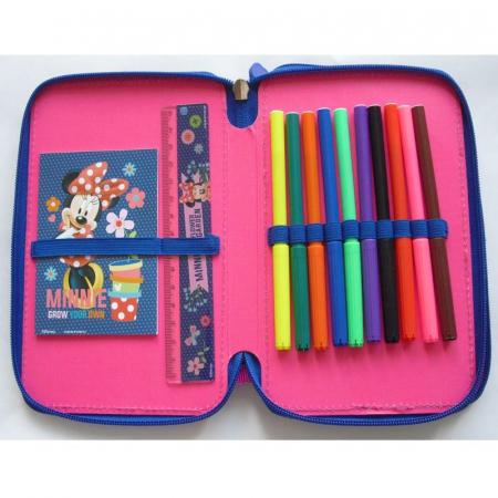 Penar scoala, echipat, dublu(2 compartimente), Fete, Minnie Mouse