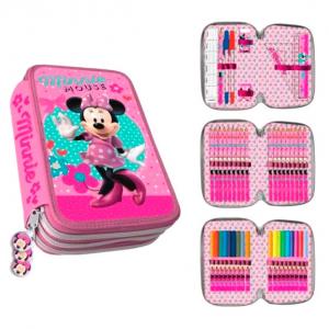 Penar scoala, echipat, triplu, (3 compartimente), Fete, Disney Minnie Mouse