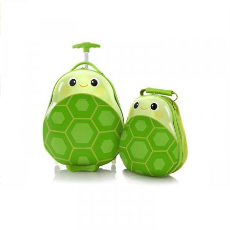 Set Troler ABS Copii si Ghiozdan, Fete - Baieti, Heys Turtle, Verde, 46CM