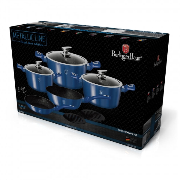 Set oale si tigai marmorate (10 piese) din aluminiu forjat Metallic Line Royal Blue Edition Berlinger Haus BH 1658N