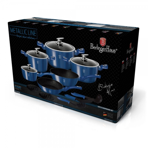 Set oale si tigai marmorate (15 piese) din aluminiu forjat Metallic Line Royal Blue Edition Berlinger Haus BH 1659N