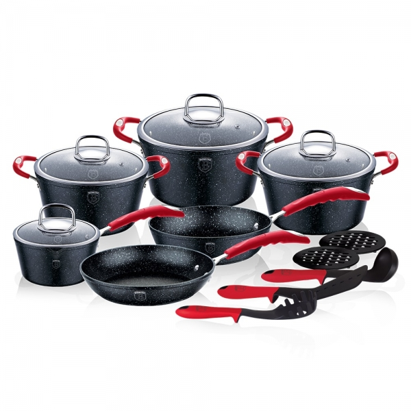 Set oale si tigai marmorate (15 piese) din aluminiu forjat Gray Stone Touch Line Black Edition Berlinger Haus BH 1172N