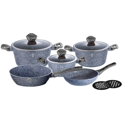 Set oale si tigai marmorate (10 piese) din aluminiu forjat Forest Dark Gray Line Berlinger Haus BH 1576