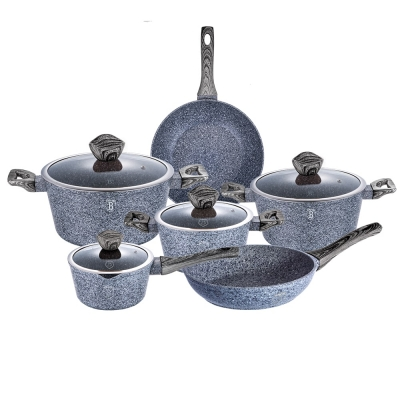 Set oale si tigai marmorate (10 piese) din aluminiu forjat Forest Dark Gray Line Berlinger Haus BH 1577
