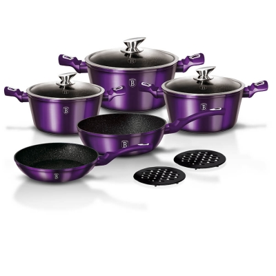 Set oale si tigai marmorate (10 piese) din aluminiu forjat Metallic Line Royal Purple Edition Berlinger Haus BH 1661N