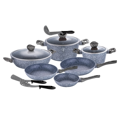 Set oale si tigai marmorate (12 piese) din aluminiu forjat Forest Dark Gray Line Berlinger Haus BH 1584