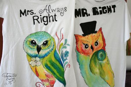 Set tricouri pictate cu bufnițe îndrăgostite