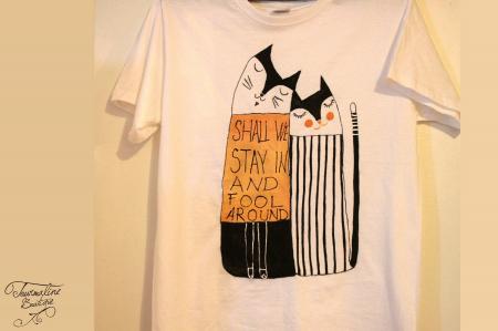 Set tricouri pictate cu pisici și mesaj