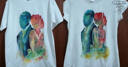 Set tricouri pictate cuplu